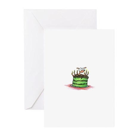 weiner dog on a birthday cake Greeting Cards (Pack