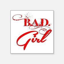 "Red Bad Girl logo Square Sticker 3"" x 3"""