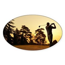 Golfer swinging club on golf course Decal