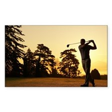 Golfer swinging club on golf c Decal