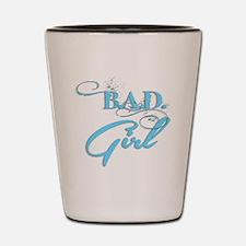 Blue Bad Girl logo Shot Glass