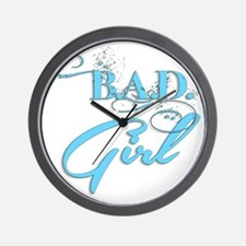 Blue Bad Girl logo Wall Clock