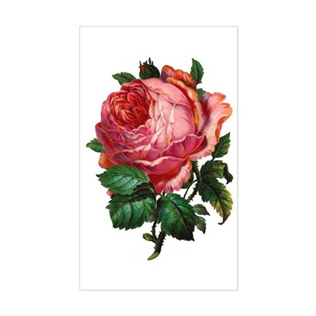 Victorian Red Rose Rectangle Sticker