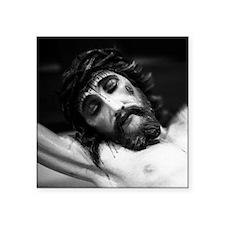 "Jesus on the cross Square Sticker 3"" x 3"""
