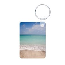 Beach scene with blue sky, Keychains