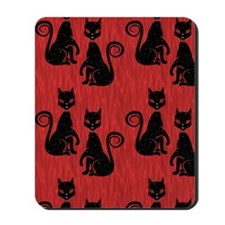 Black Cats on Red Silk Mousepad