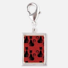 Black Cats on Red Silk Silver Portrait Charm