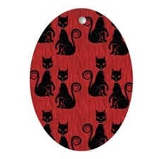 Black Cats on Red Silk Oval Ornament