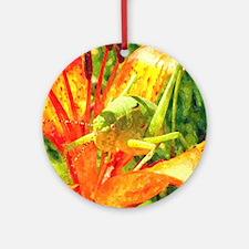 Grasshopper Watercolor Art Round Ornament