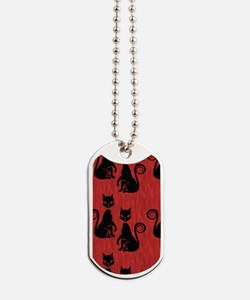 Black Cats on Red Silk Dog Tags