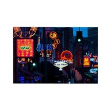 Illuminated signs on Beale Street Rectangle Magnet