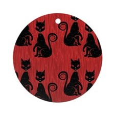 Black Cats on Red Silk Round Ornament