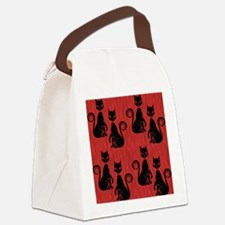 Black Cats on Red Silk Canvas Lunch Bag