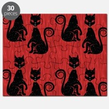 Black Cats on Red Silk Puzzle
