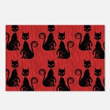 Black Cats on Red Silk Postcards (Package of 8)