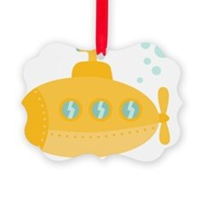 Yellow submarine with bubbles Ornament