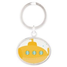 Yellow submarine with bubbles Oval Keychain