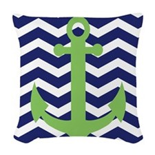 Chevron Anchor Shower Curtain Woven Throw Pillow