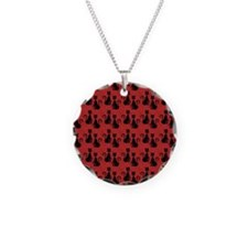 Black Cats on Red Silk Necklace