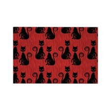 Black Cats on Red Silk Rectangle Magnet