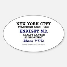 NEW YORK CITY PHONE BOOK - ENRIGHT  Decal