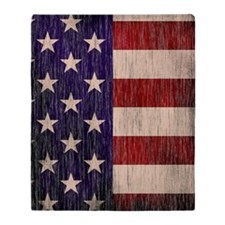 Stars and Stripes barnwood Throw Blanket