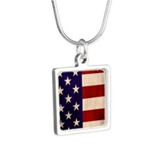 Stars and Stripes Artistic Silver Square Necklace