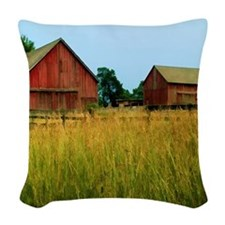 Farm Field with Red Barns Woven Throw Pillow