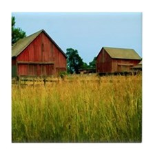 Farm Field with Red Barns Tile Coaster