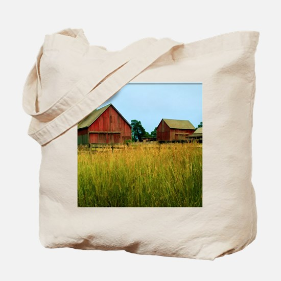 Farm Field with Red Barns Tote Bag