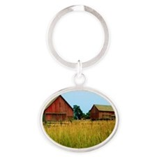 Farm Field with Red Barns Oval Keychain
