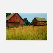Farm Field with Red Barns Rectangle Magnet