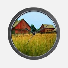 Farm Field with Red Barns Wall Clock