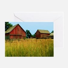 Farm Field with Red Barns Greeting Card