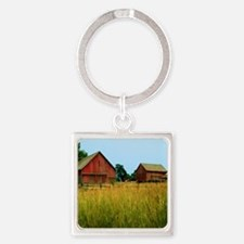 Farm Field with Red Barns Square Keychain