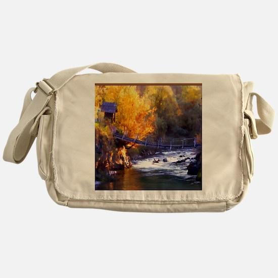 Swinging Bridge Over Autumn Creek Messenger Bag