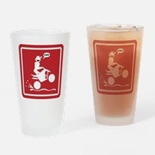 Quad Wheelie Warning Signs Drinking Glass