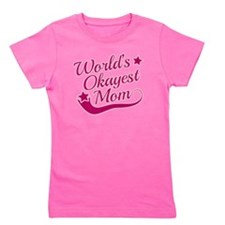 Worlds Okayest Mom Pink Girl's Tee