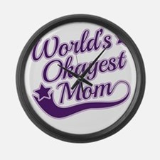 World's Okayest Mom Purple Large Wall Clock