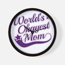 World's Okayest Mom Purple Wall Clock