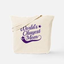 World's Okayest Mom Purple Tote Bag
