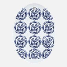 blue delft Oval Ornament
