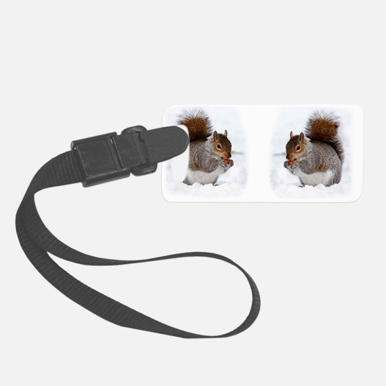 Squirrel in the snow Luggage Tag