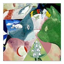 """Chagalls Cats Square Car Magnet 3"""" x 3"""""""