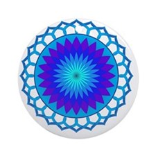 Blue Lotus Mandala Round Ornament