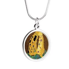 Klimts Kats Silver Round Necklace