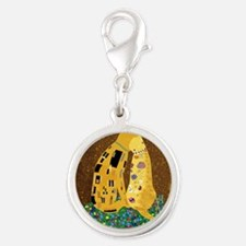 Klimts Kats Silver Round Charm