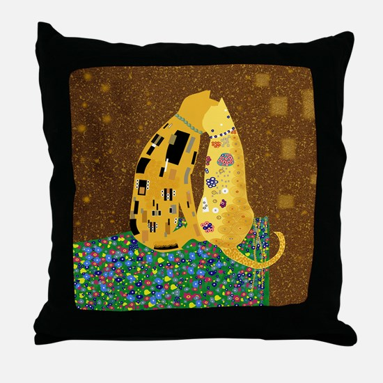 Klimts Kats Throw Pillow