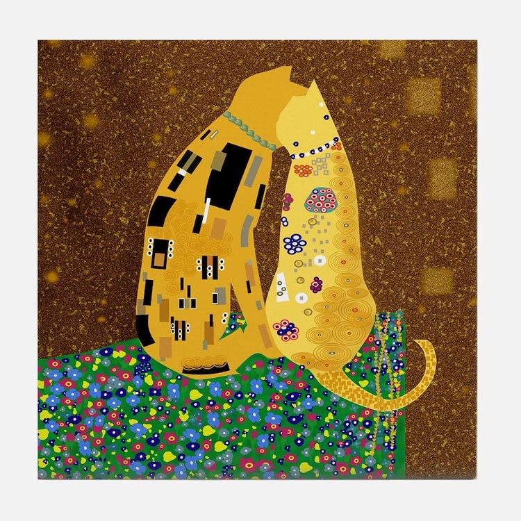 Klimts Kats Tile Coaster