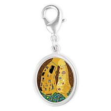 Klimts Kats Silver Oval Charm